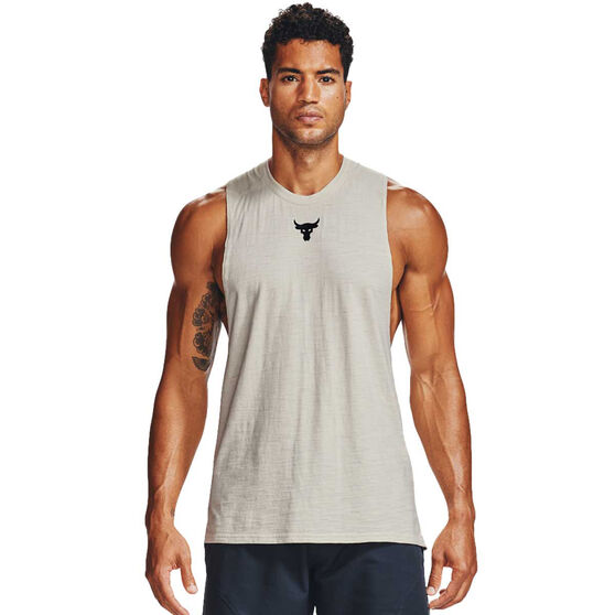 Under Armour Mens Project Rock Charged Cotton Tank, White, rebel_hi-res