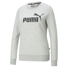 Puma Womens Essentials Logo Crew Neck Sweater Grey XS, Grey, rebel_hi-res