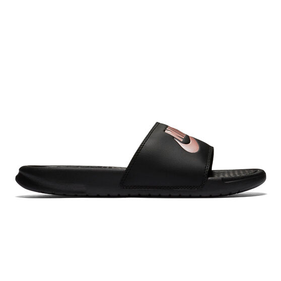 Nike Benassi JDI Womens Slides, Black / Pink, rebel_hi-res