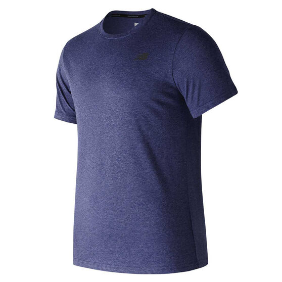 New Balance Heather Tech Running Tee, Navy Blue, rebel_hi-res