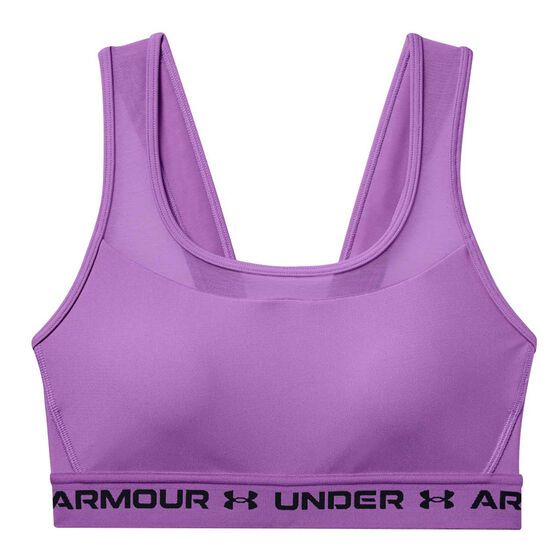 Under Armour Womens Mid Crossback Sports Bra, Purple, rebel_hi-res
