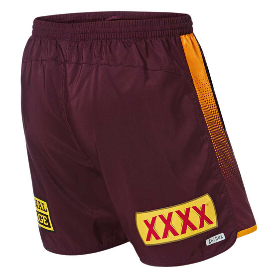 Brisbane Broncos 2019 Mens Training Shorts, Maroon, rebel_hi-res
