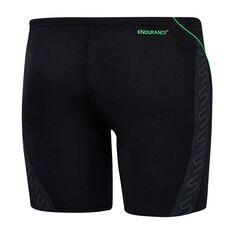 Speedo Boys Monogram II Jammer Swim Shorts, Black / Green, rebel_hi-res