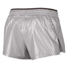 Nike Womens Elevate Metallic Running Shorts Silver XS, Silver, rebel_hi-res