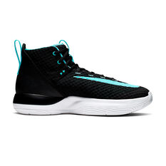 Nike Zoom Rize Mens Basketball Shoes Black / Green US 7, Black / Green, rebel_hi-res