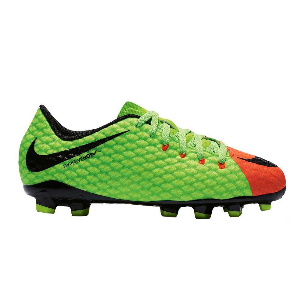 eaffbfb7a41 Nike Hypervenom Phelon III Junior Football Boots Green   Black US 1 Junior