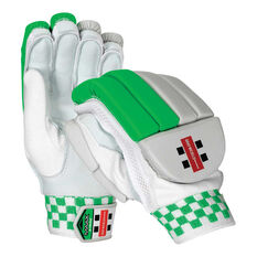 Gray Nicolls Maax Strike Junior Cricket Batting Gloves White / Green Youth Right Hand, White / Green, rebel_hi-res