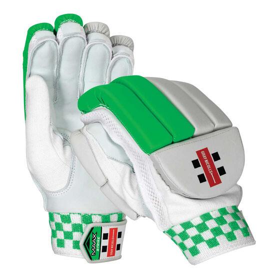 Gray Nicolls Maax Strike Junior Cricket Batting Gloves, White / Green, rebel_hi-res