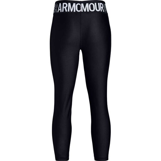 Under Armour Girls Heatgear Armour Ankle Crop Tights, Black / White, rebel_hi-res