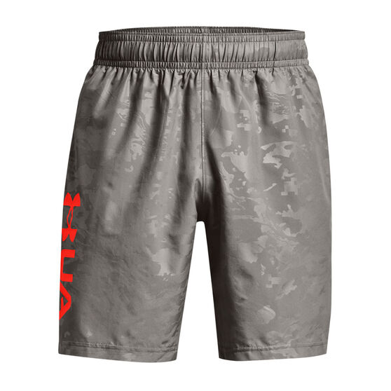 Under Armour Mens Woven Embossed Shorts, Grey, rebel_hi-res