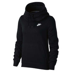 Nike Womens Funnel Neck Hoodie Black / White XS Adult, Black / White, rebel_hi-res