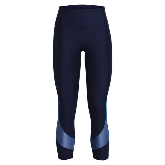 Under Armour Womens HeatGear Armour Taped Ankle Tights, Navy, rebel_hi-res