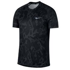 Nike Mens Miler Print Short Sleeve Running Top Black S, Black, rebel_hi-res
