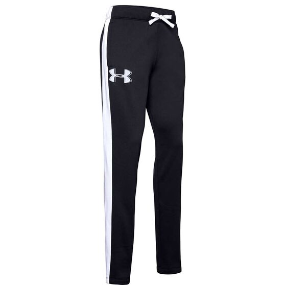 Under Armour Girls Armour Fleece Pants, Black / White, rebel_hi-res