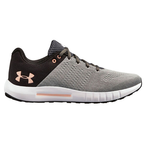 Under Armour Micro G Pursuit Womens Running Shoes, Grey / Black, rebel_hi-res
