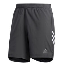 adidas Mens Run It 3 Stripe Shorts Grey / White S, Grey / White, rebel_hi-res
