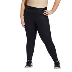 adidas Womens TechFit High-Rise Long Tights Plus, Black, rebel_hi-res