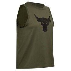 Under Armour Womens Project Rock Bull Tank Green XS, Green, rebel_hi-res