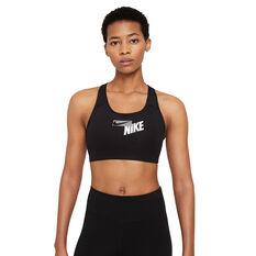 Nike Womens Swoosh Medium Support Sports Bra, Black, rebel_hi-res
