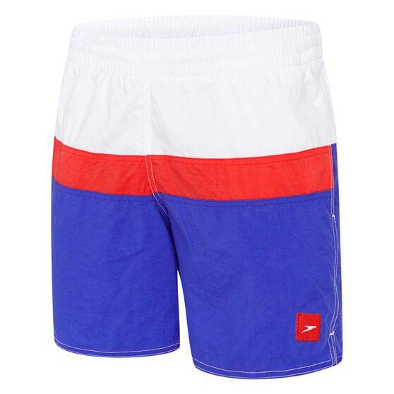 Speedo Mens Split Logo Board Shorts, Blue / White, rebel_hi-res