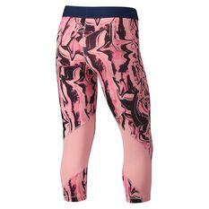 Nike Girls Printed Capri Training Tights Pink / Navy XS, Pink / Navy, rebel_hi-res