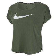 Nike Womens Swoosh Running Tee Green XS, Green, rebel_hi-res