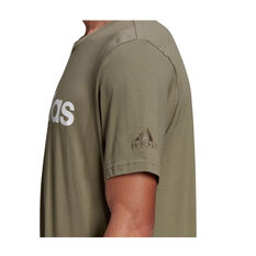adidas Mens Essentials Linear Logo Tee, Green, rebel_hi-res