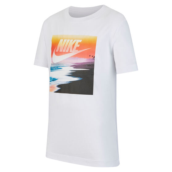 Nike Sportswear Boys Futura Beach Tee, White, rebel_hi-res