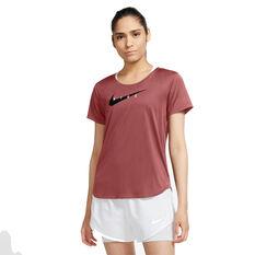 Nike Womens Swoosh Run Running Tee Red XS, Red, rebel_hi-res