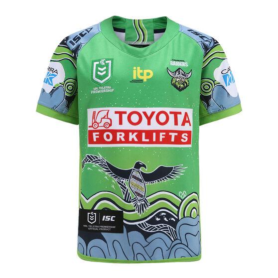 Canberra Raiders 2021 Kids Indigenous Jersey, Green, rebel_hi-res