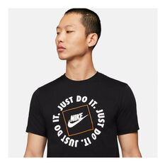 Nike Mens Sportswear Just Do It HBR Tee, Black, rebel_hi-res