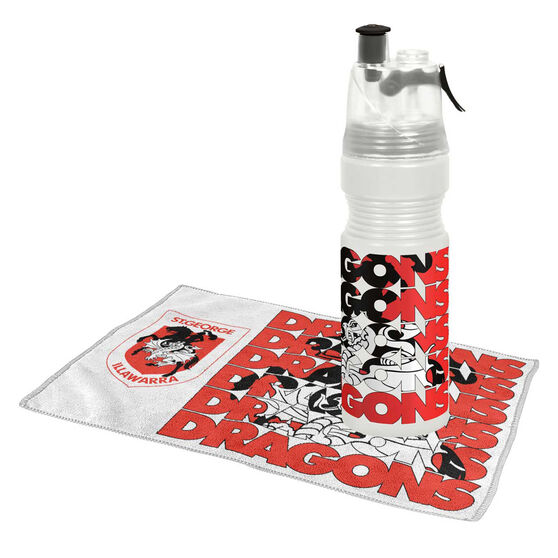 St George Illawarra Dragons Water Bottle and Gym Towel Pack, , rebel_hi-res