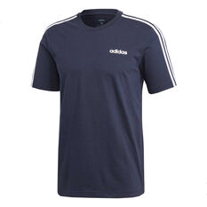 adidas Mens Essentials 3 Stripes Tee, Navy, rebel_hi-res