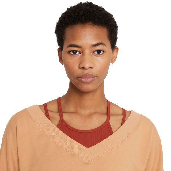 Nike Womens Yoga Fleece V-Neck Top, Orange, rebel_hi-res