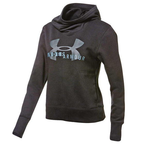 Under Armour Womens UA Rival Fleece Logo Hoodie, Black, rebel_hi-res