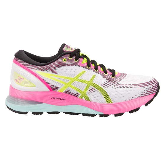 Asics GEL Nimbus 21 Womens Running Shoes, White / Blue, rebel_hi-res