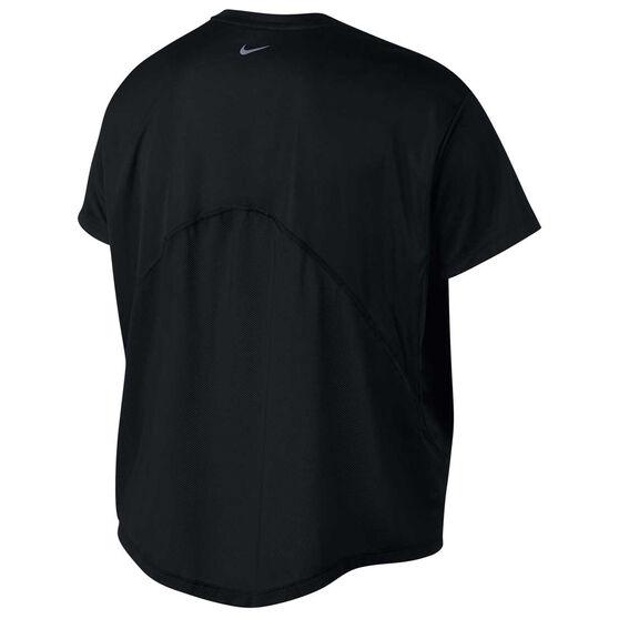 Nike Womens Dri FIT Miler Tee Plus, Black, rebel_hi-res