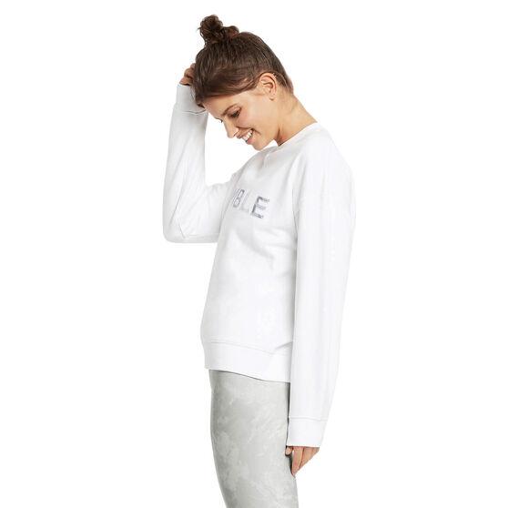 Nimble Womens Chill Time Crew Sweatshirt, White, rebel_hi-res