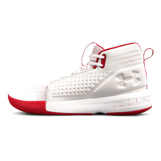 Under Armour Torch Mens Basketball Shoes, White / Red, rebel_hi-res