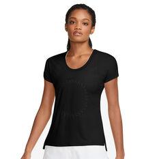 Nike Womens Icon Clash Miler Running Tee Black XS, Black, rebel_hi-res