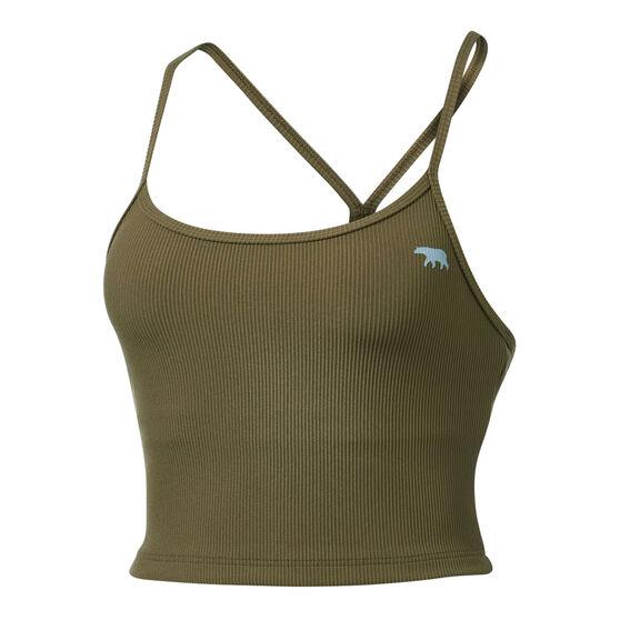 Running Bare Womens Dharma Long Line Sports Bra, Khaki, rebel_hi-res