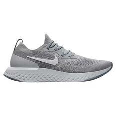 Nike Epic React Flyknit Mens Running Shoes Grey / White US 7, Grey / White, rebel_hi-res