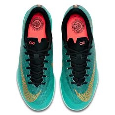 Nike Vaporx 12 Academy CR7 Kids Indoor Soccer Shoes Green / Gold US 1, Green / Gold, rebel_hi-res