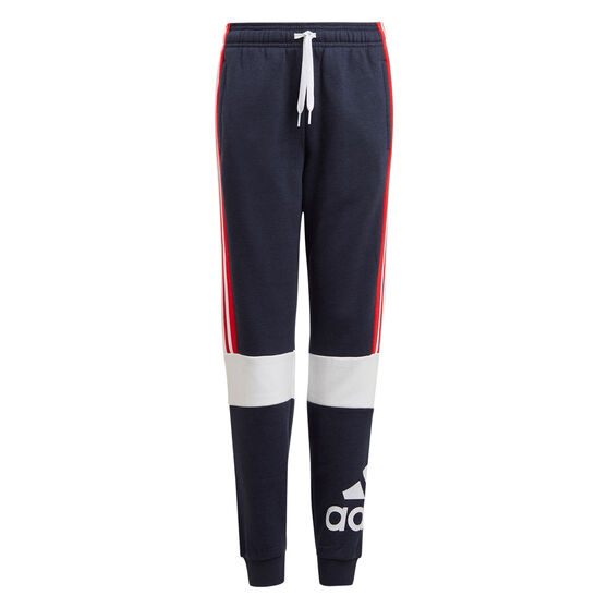 Adidas Boys Colourblock Pants, Navy, rebel_hi-res
