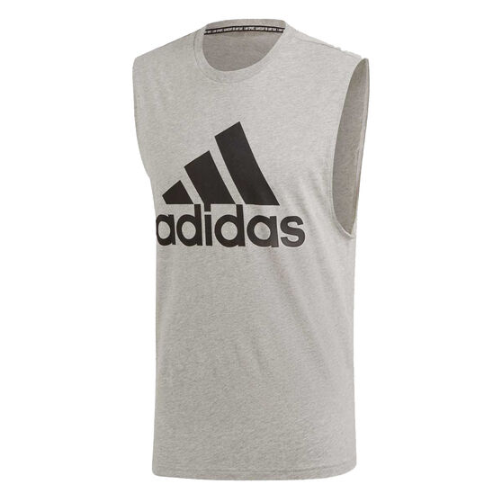 adidas Mens Must Haves Badge Of Sport Tank Grey XL, Grey, rebel_hi-res