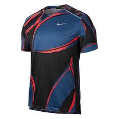 Nike Mens Dri-FIT Miler Running Top Navy S, Navy, rebel_hi-res