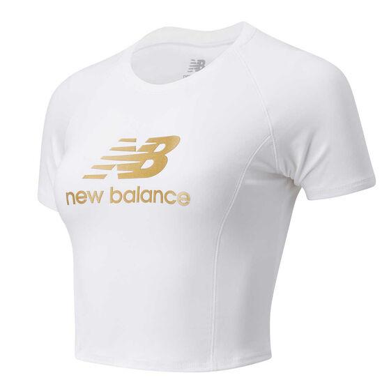 New Balance Womens Podium Tee, White, rebel_hi-res