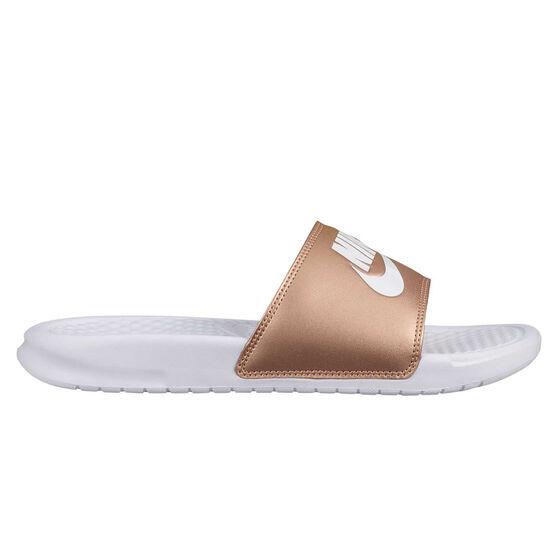 Nike Benassi Just Do It Womens Slides White / Brown US 10, White / Brown, rebel_hi-res