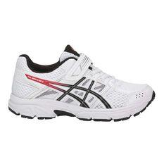 Asics Pre Contend 4 Junior Boys Running Shoes White / Black US 11, White / Black, rebel_hi-res