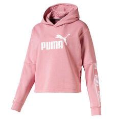 Puma Womens Amplified Cropped Hoodie Pink XS, Pink, rebel_hi-res
